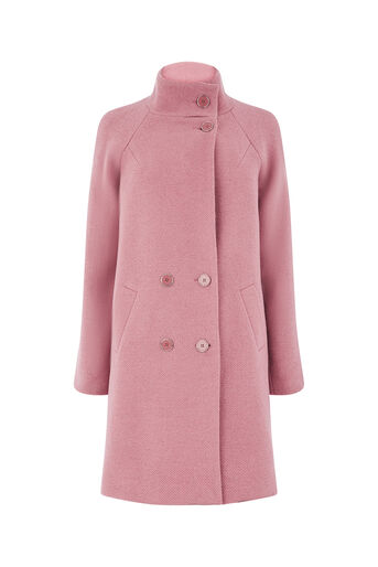 Oasis, FLORENCE DOUBLE BREASTED COAT Mid Pink 0