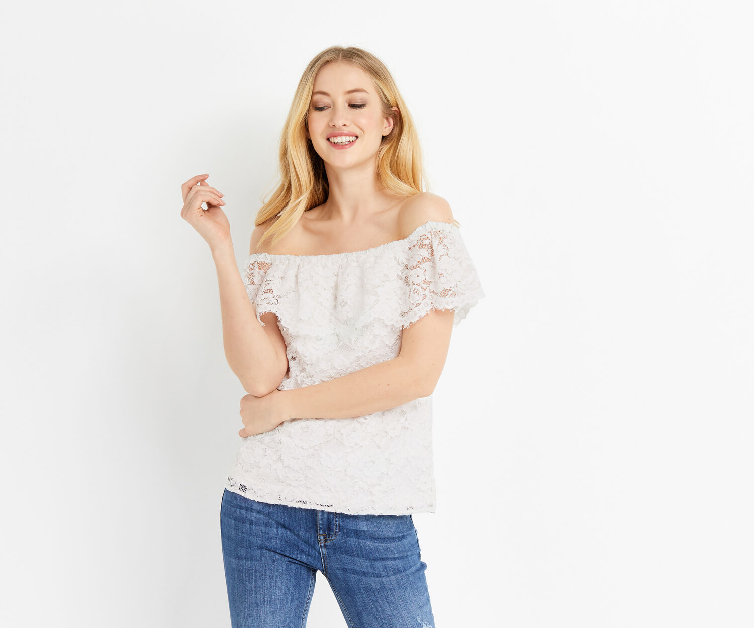 Oasis, LACE BARDOT TOP White 1