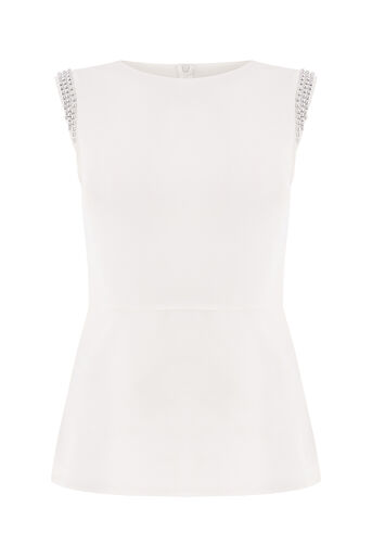 Oasis, EMBELLISHED PEPLUM TOP Off White 0