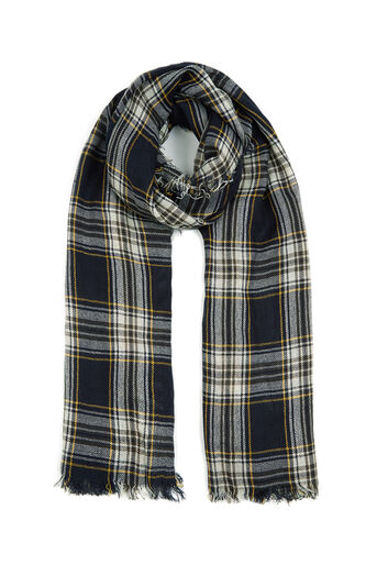 Oasis, STEPHANIE CHECK SCARF Navy 0