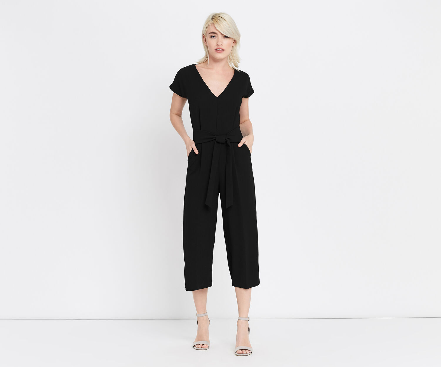 Oasis, V NECK WIDE LEG JUMPSUIT Black 1
