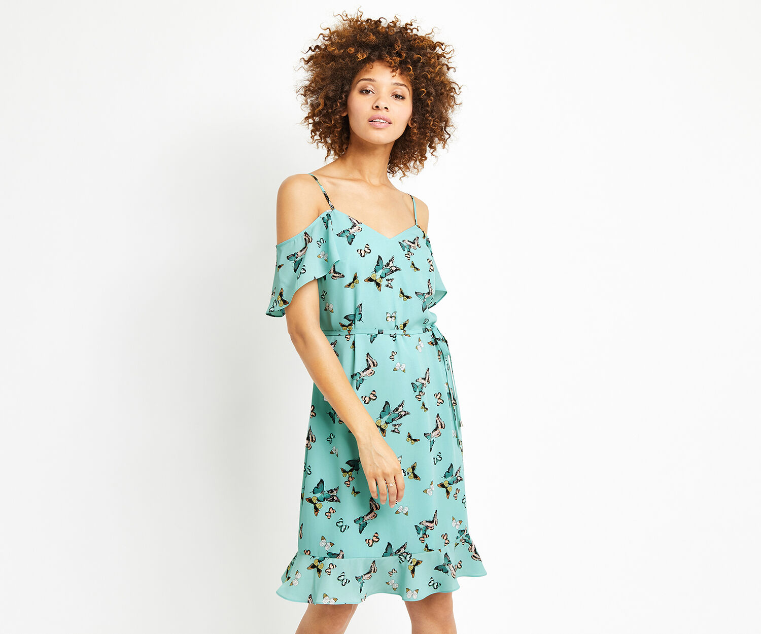 Oasis, LONG BUTTERFLY COLD SHOULDER D Multi Blue 1