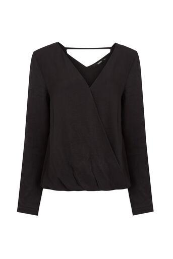 Oasis, Wrap Front V Back Shirt Black 0