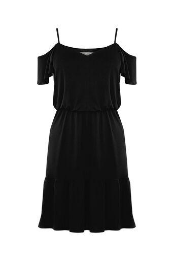 Oasis, Bardot Ruffle Hem Dress Black 0
