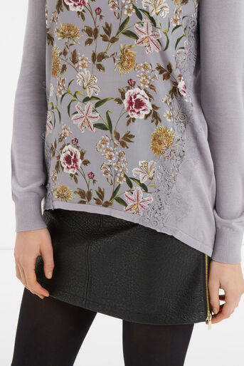 Oasis, Opium Lace Wovenfront Knit Multi Grey 4