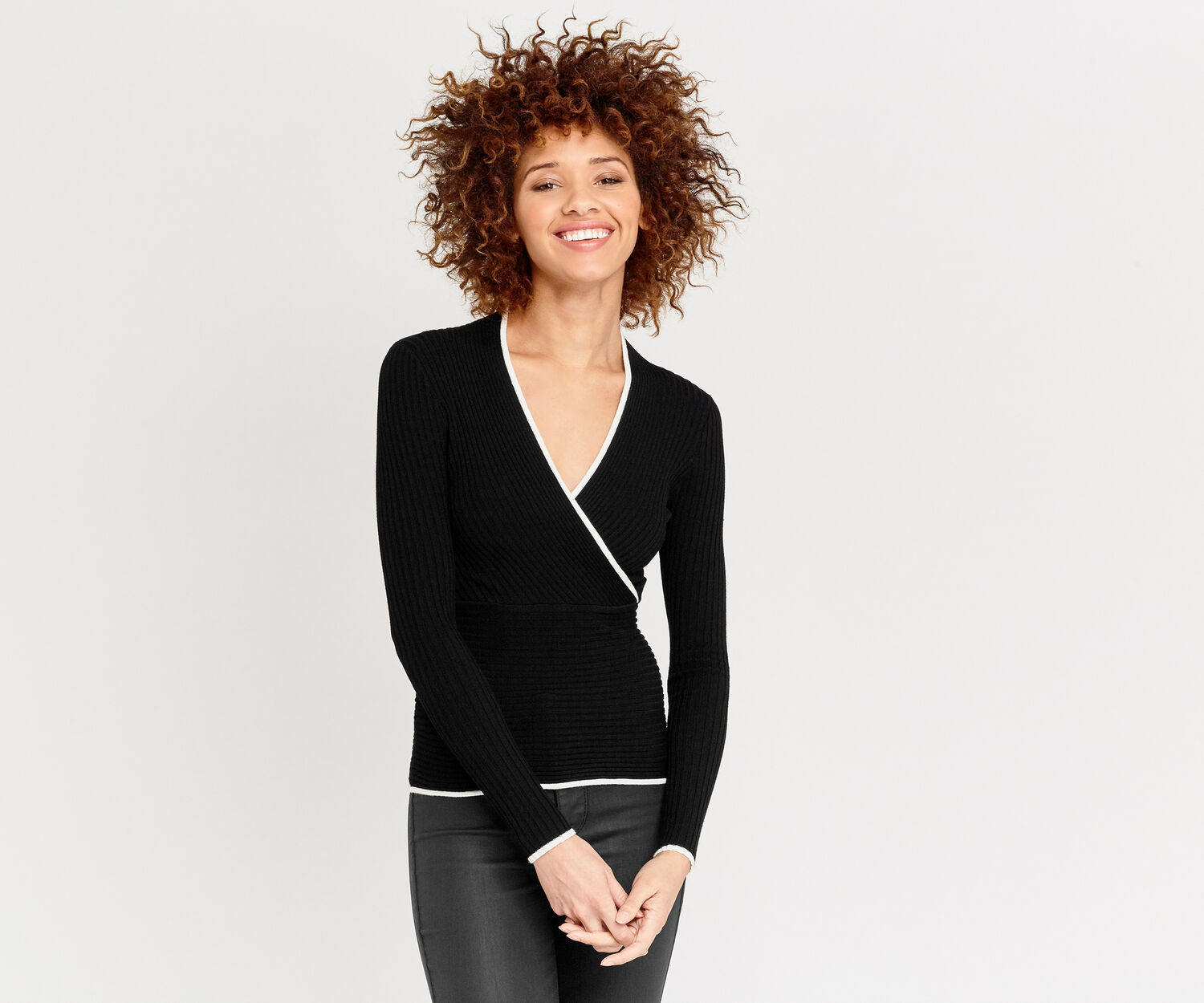 Oasis, Tipped rib wrap top Black 1