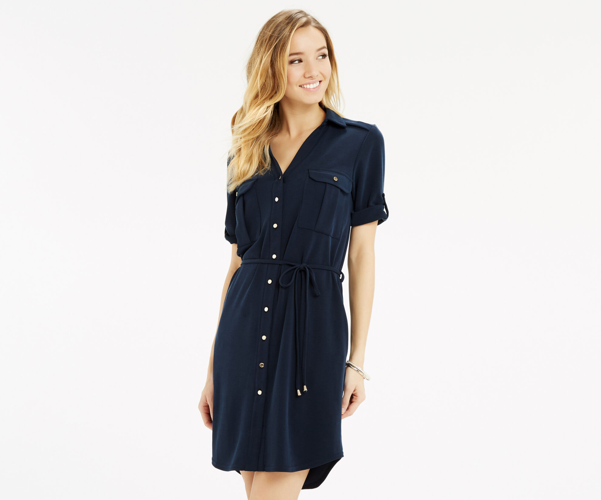 Oasis, Textured Shirt Dress Navy 1