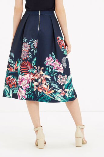 Oasis, Tropical Jacquard Midi Skirt Multi Blue 3