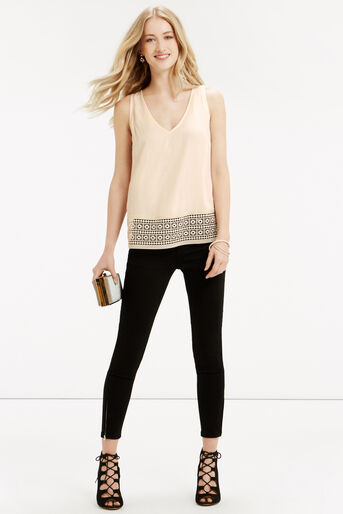 Oasis, Tassle Lace Trim Shell Top Off White 2