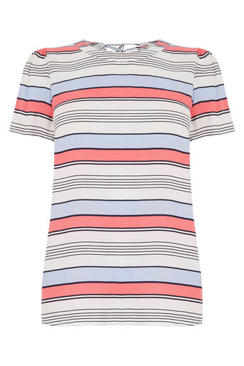 Oasis, Laced Back Stripe T-Shirt Multi Blue 0