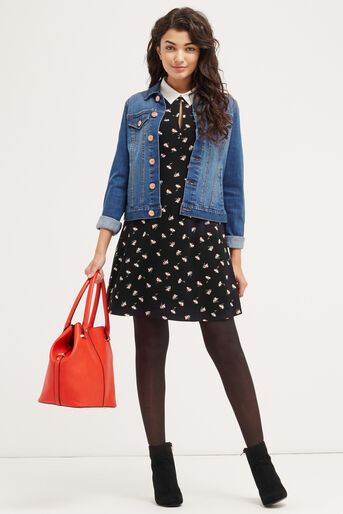 Oasis, DAISY COLLAR SHIFT DRESS Multi Black 2