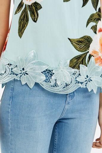 Oasis, Floral Lace Trim T-Shirt Turquoise 4