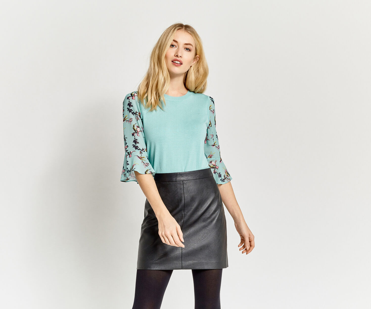 Oasis, Lotus flute sleeve knit Teal Green 1