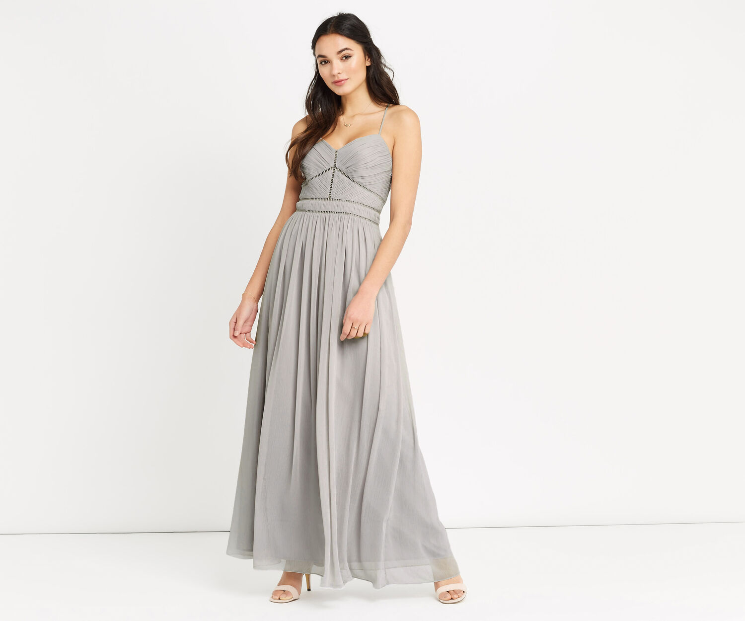 Oasis, TRIMMED CHIFFON MAXI Pale Grey 1