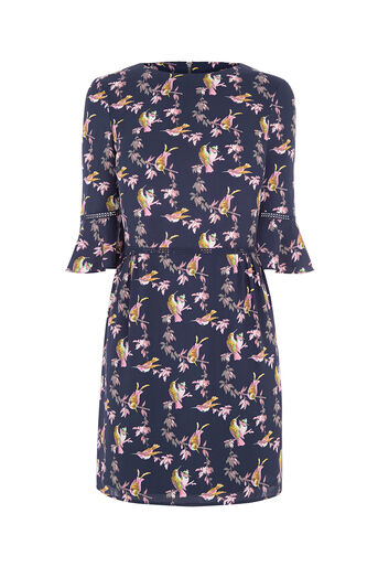 Oasis, LOTUS BIRD DRESS Multi Blue 0