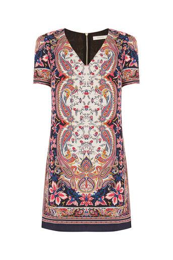 Oasis, Paisley Shift Dress Multi Natural 0