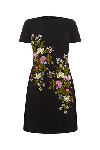 Oasis, SPRING EMBROIDERED DRESS Multi Black 0