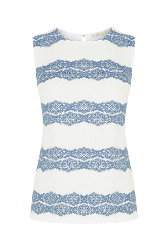 Oasis, Chambray Lace Stripe Shell Off White 0