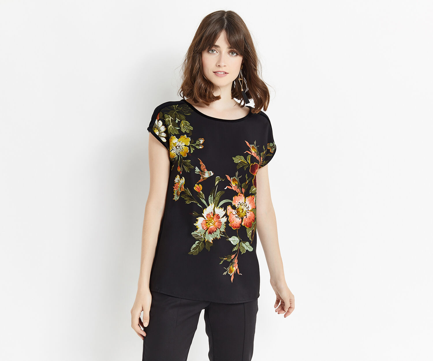 Oasis, ROSSETTI WOVEN FRONT TOP Black 1