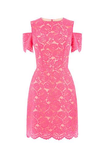 Oasis, LACE COLD SHOULDER DRESS Mid Pink 0