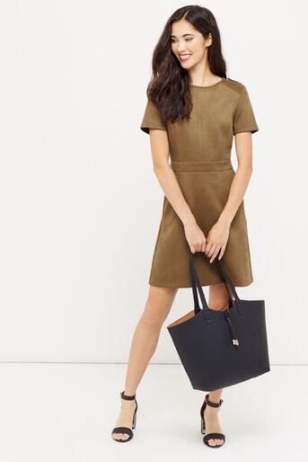 Oasis, SUEDETTE SHIFT DRESS Tan 2