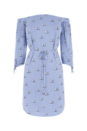 Oasis, STRIPE SWAN BARDOT DRESS Multi Blue 0