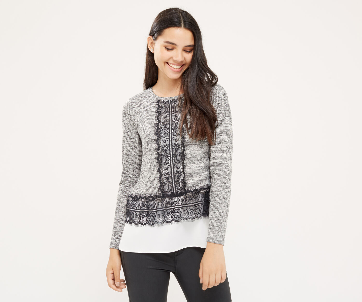 Oasis, LACE CUT & SEW SWEATER Mid Grey 1