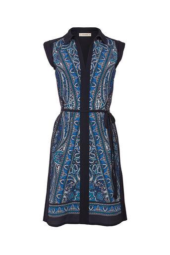 Oasis, CHRISTY PAISLEY SHIRT DRESS Multi Blue 0