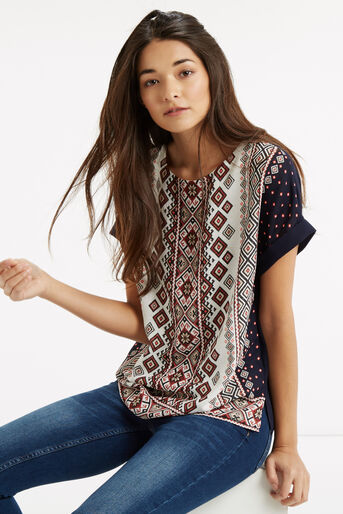 Oasis, Embroidered Mixed T-Shirt Multi 1