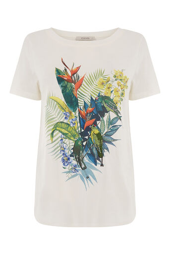 Oasis, embellished parrot tee White 0
