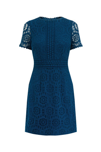 Oasis, LACE SHIFT DRESS Teal Green 0