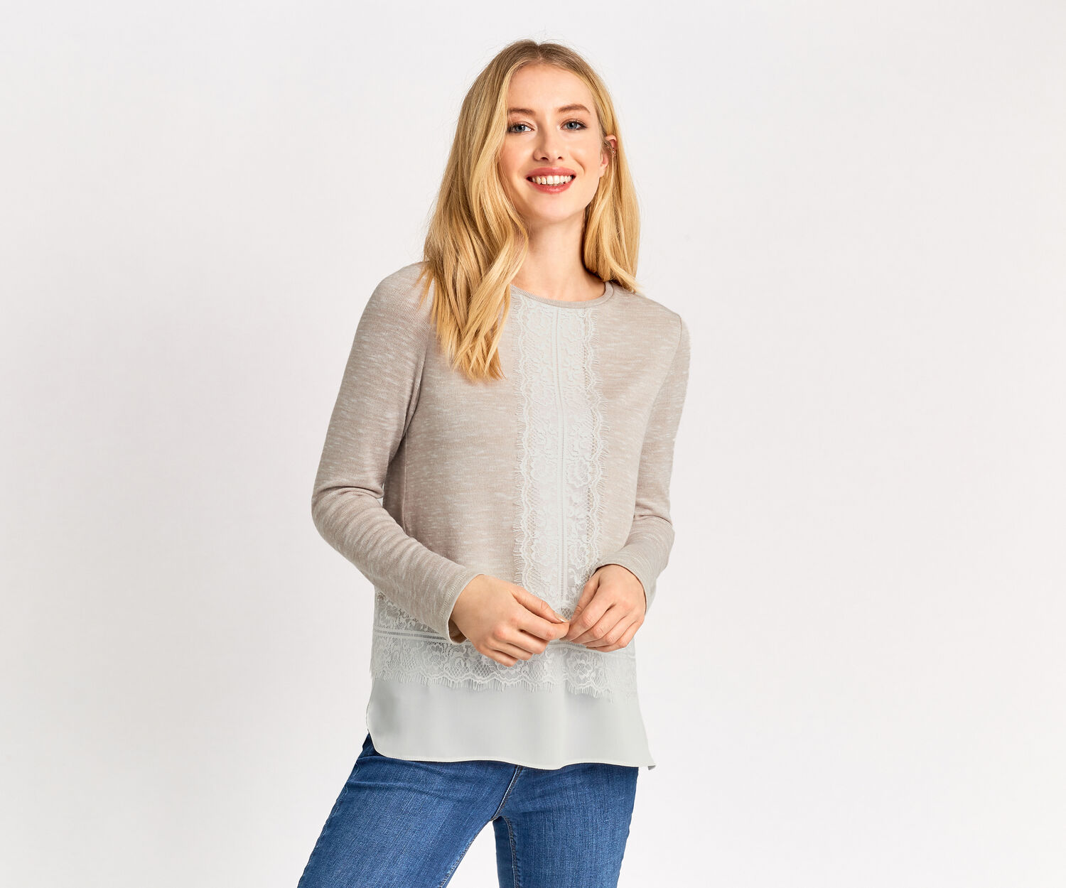 Oasis, LACE DROP SLEEVE TOP Light Neutral 1