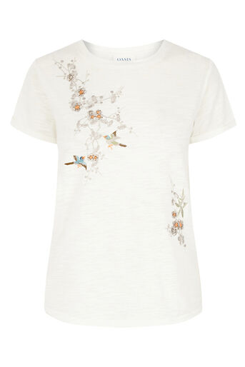 Oasis, EMBROIDERED TEE Pale Pink 0