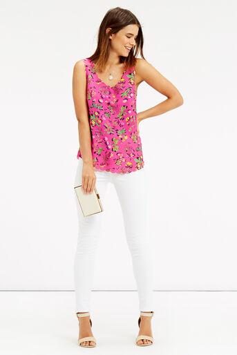 Oasis, Sophia Scallop Vest Multi Pink 2