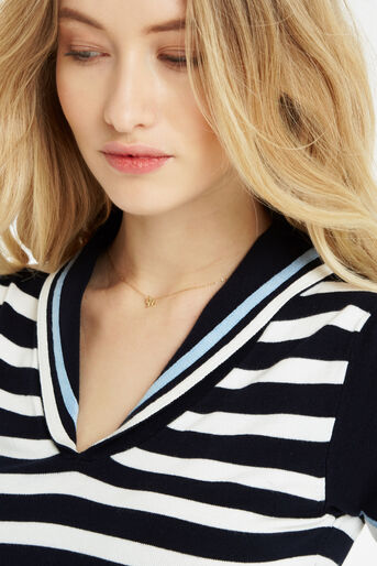 Oasis, Sailor Knitted Top Multi Blue 4