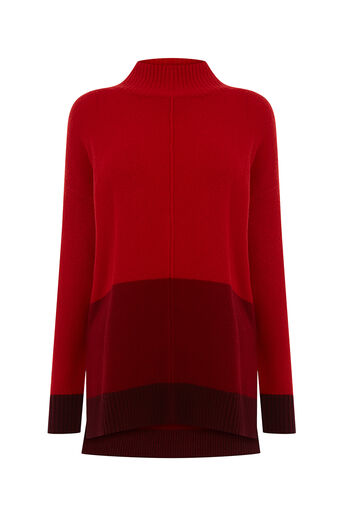Oasis, FUNNEL NECK COLOURBLOCK KNIT Mid Red 0
