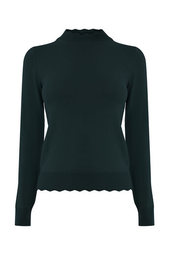 Oasis, Mini scallop turtle neck Deep Green 0