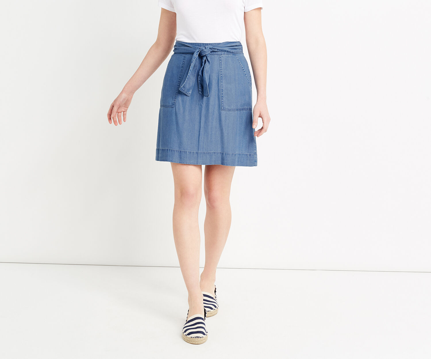 Oasis, TENCEL TIE FRONT SKIRT Denim 1