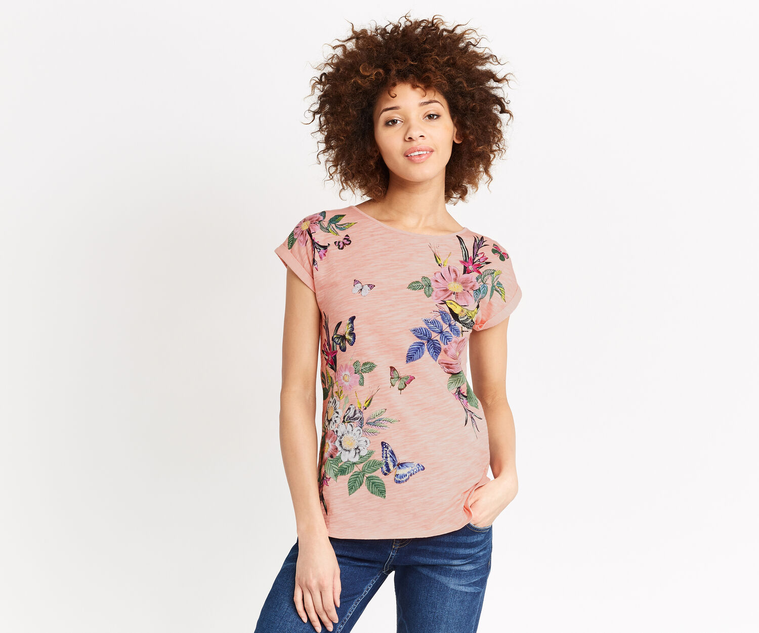Oasis, FLORAL PLACEMENT PRINT TEE Coral 1