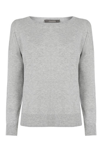 Oasis, Weekend Knit Top Mid Grey 0
