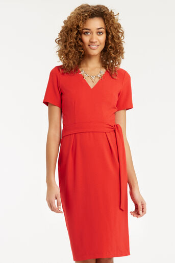Oasis, Wiggle Belted Dress Mid Red 1