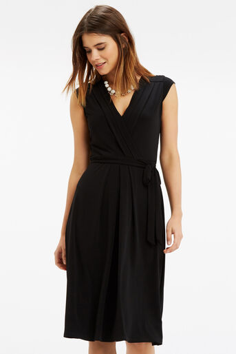 Oasis, Wrap Midi Dress Black 1