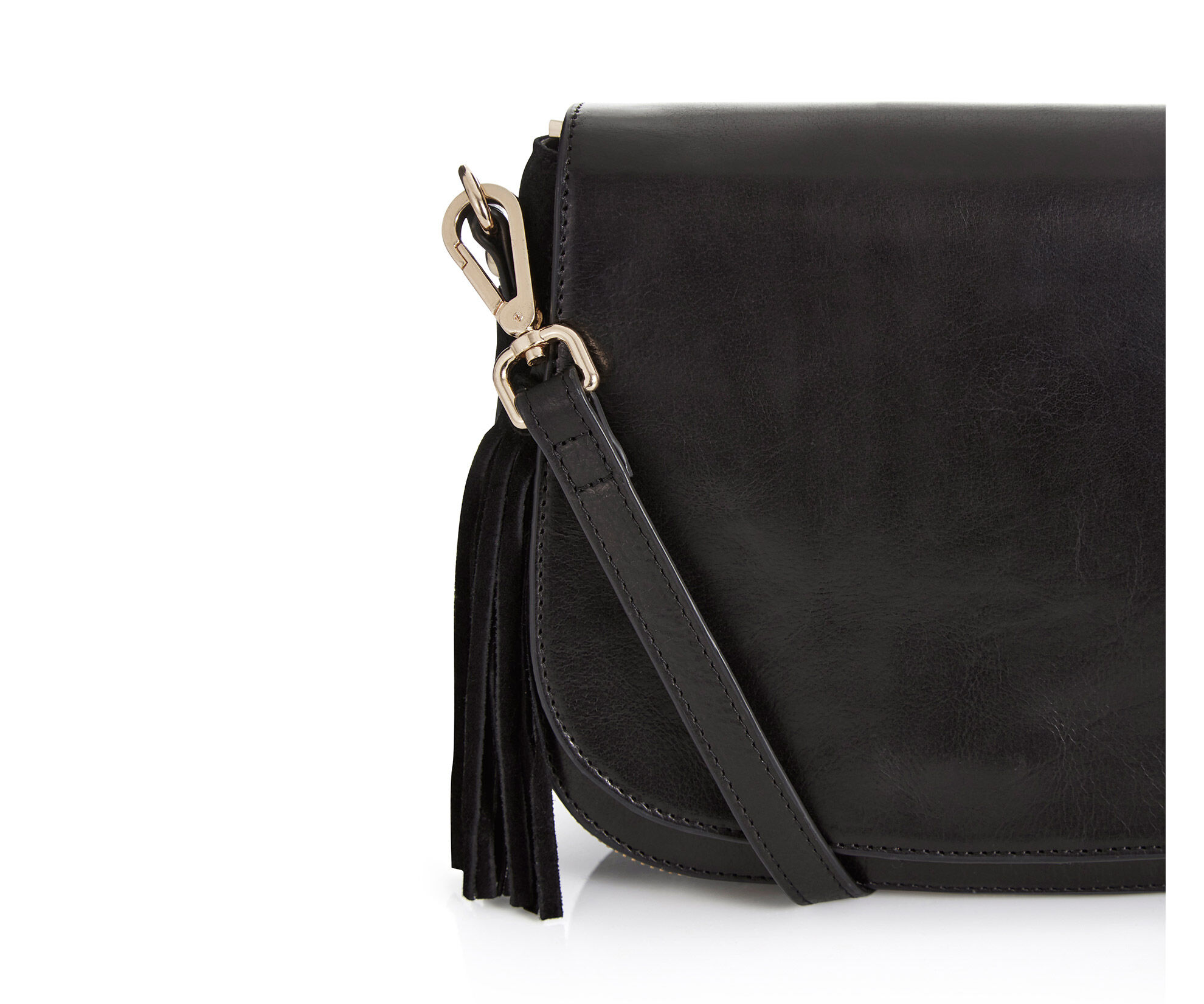 Oasis, Eda Leather Saddle Bag Black 1