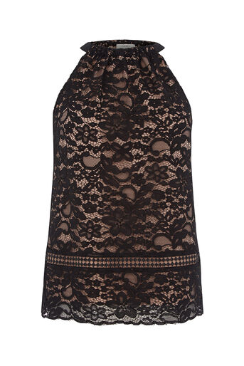 Oasis, LACE HALTER TOP Black 0
