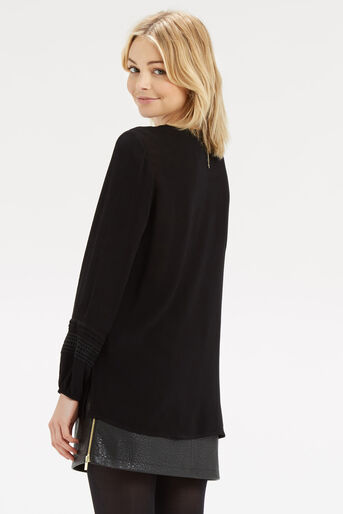 Oasis, Lace Front Peasant Blouse Black 3