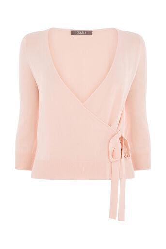 Oasis, Sheer ballet wrap 3/4 sleeve Mid Pink 0