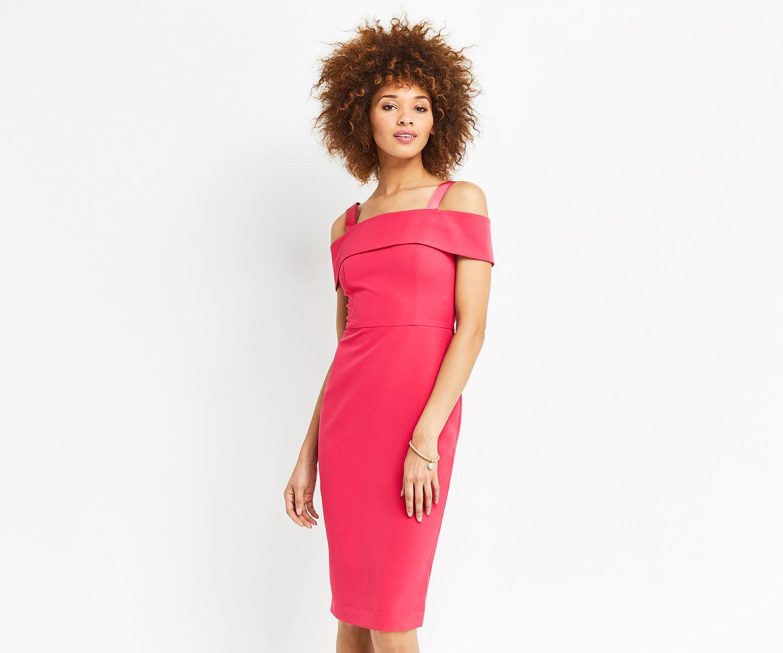 Oasis, BARDOT PENCIL DRESS Deep Pink 1