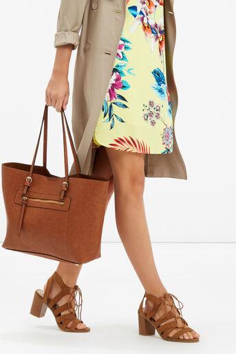 Oasis, Zip Detail Tote Bag Tan 1