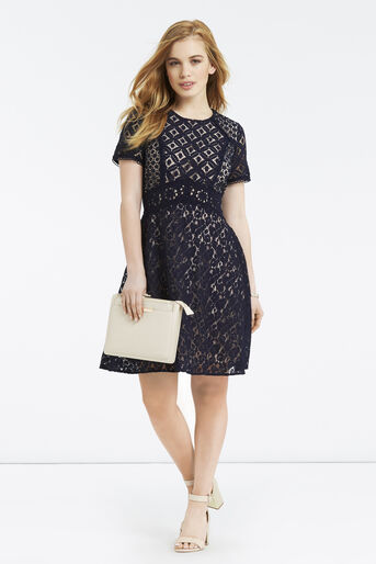 Oasis, Petite Patched Lace Skater Navy 2