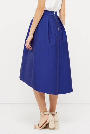 Oasis, SATIN FULL MIDI SKIRT Cobalt Blue 3